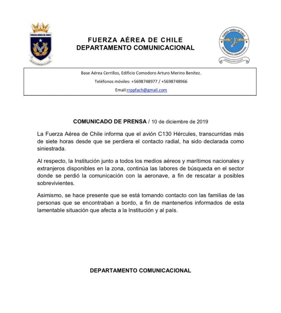 FACh confirma que encontraron restos que podrían ser del avión desaparecido