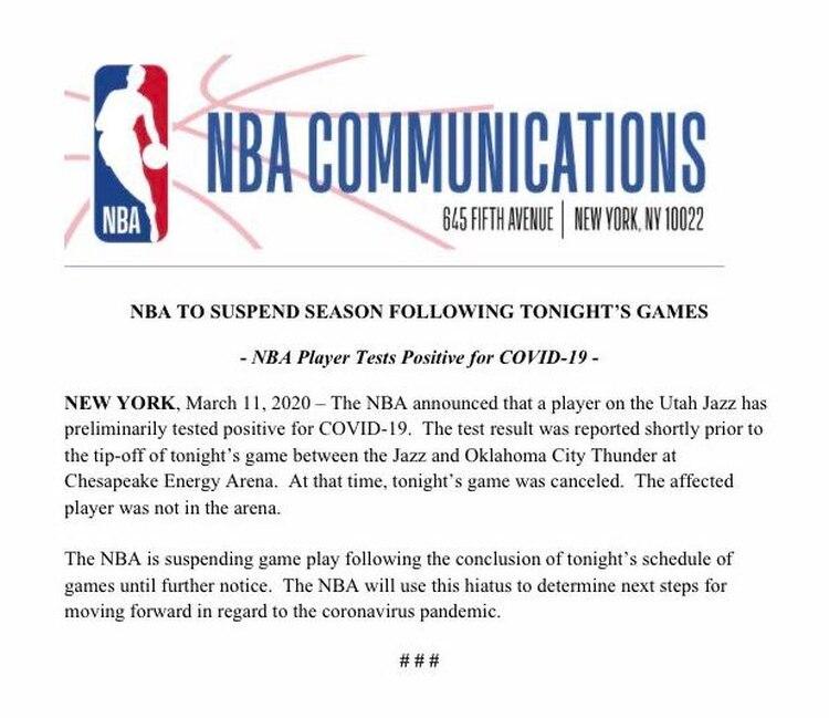 Comunicado NBA